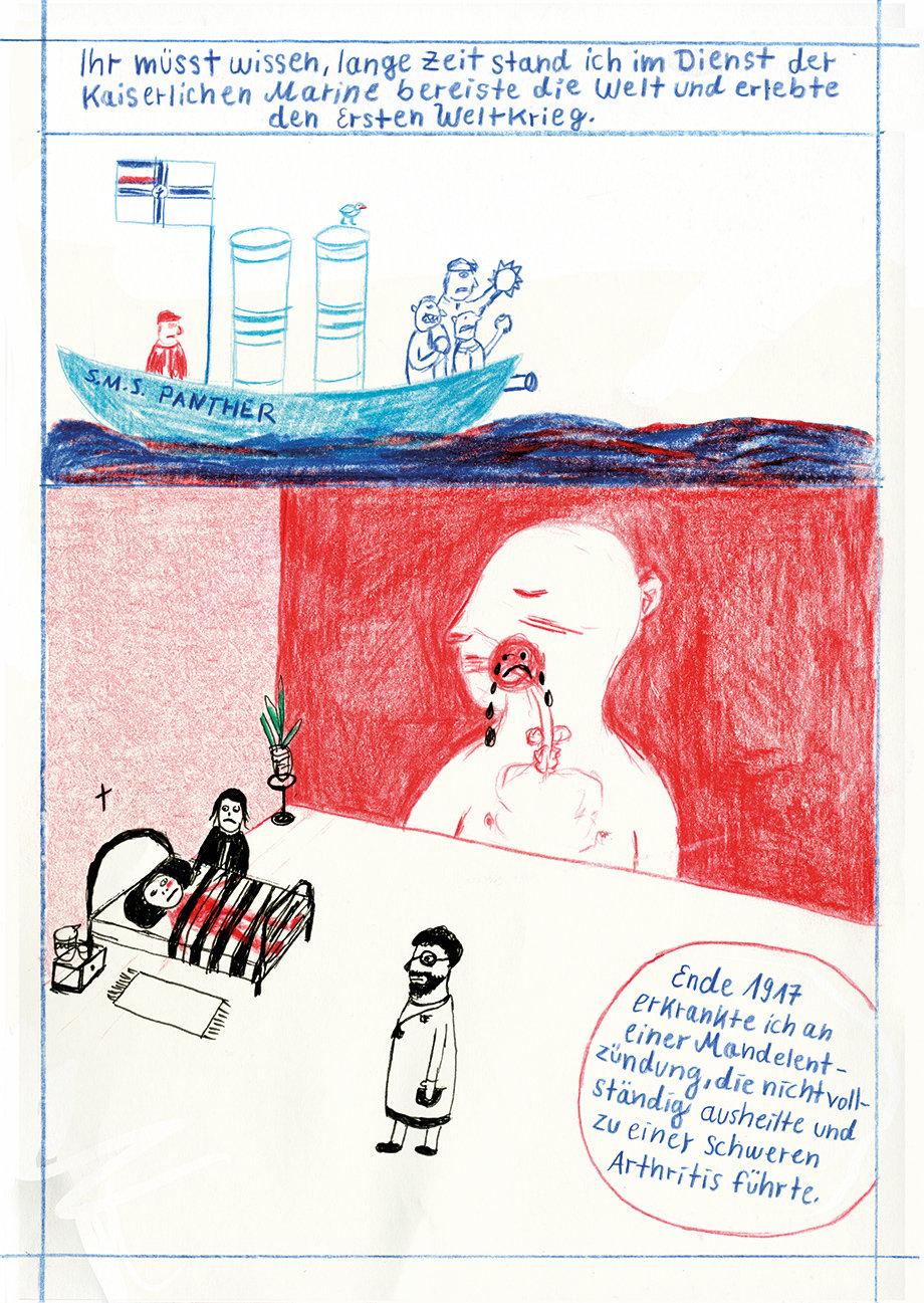 Szene aus dem Comicband Raus Rein über die Deutsche Kolonialschule