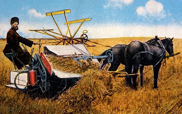 Traditionelle Landwirtschaft in Russland: Ein Bauer und seine Maschine, gezogen von zwei Pferden, auf dem Feld  (Foto: Universal History Archive/ Kontributor)