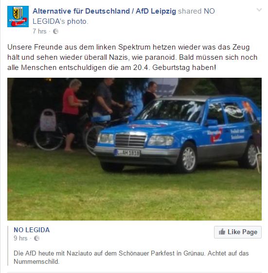Facebookpost zu AfD-Auto (Bild: Screenshot des gelöschten Facebookposts der AfD Leipzig)