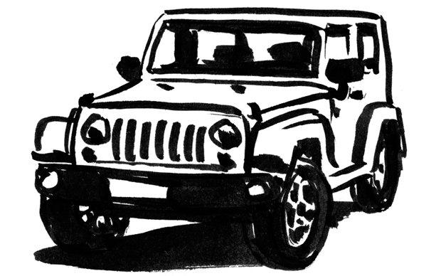 Illustration von einem Geländewagen (Jindrich Novotny)