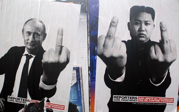 """""""Ohne Informationsfreiheit gibt es keine Gegenmacht"""" – sagen die Werbeplakate. Insofern geht es der Organisation Reporter ohne Grenzen auch darum, dass sich die Mächtigen nicht zu viel rausnehmen (Foto: picture alliance/abaca)"""