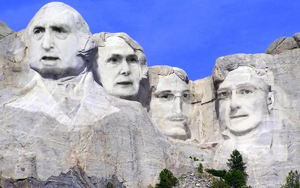 Am Mount Rushmore in South Dakota ehren die USA einige ihrer Präsidenten mit überlebensgroßen Skulpturen. Nicht zu erwarten, dass diese Ehre so bald auch Whistleblowern wie Edward Snowden und Chelsea Manning zuteil wird (Illustration: Thiago Kohl)