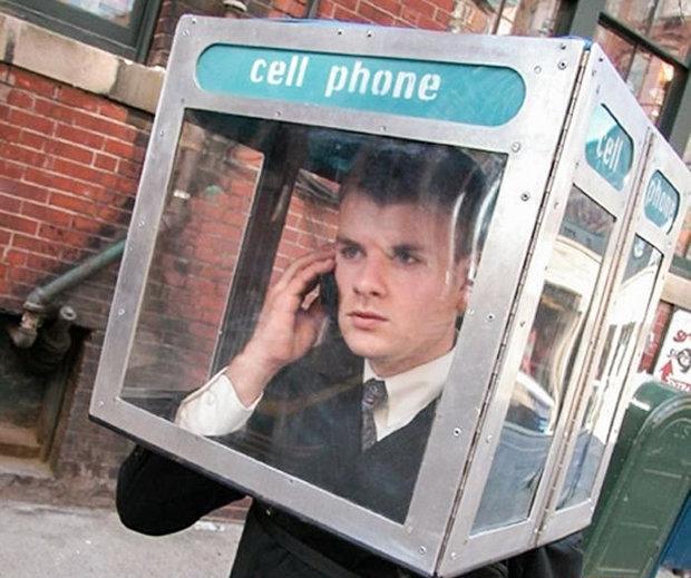 Irgendwie auch antisozial, wenn auch keine App: die mobile Telefonzelle zum Aufsetzen