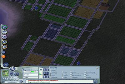 Flächennutzungsplan à la SimCity: Wohnen (grün), Gewerbe (blau) und Industrie (gelb) (Screenshot: Electronic Arts)