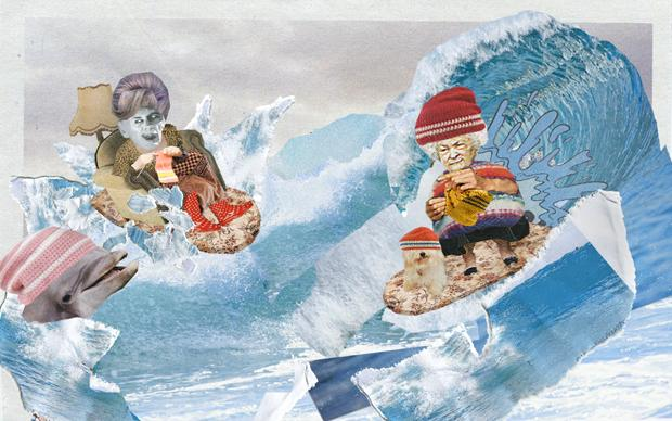 Auf der Welle kann Oma noch mitreiten: Die Surfer- und Skaterszene hat gerne wieder gute alte Handarbeit auf dem Kopf (Illustration: Renke Brandt)