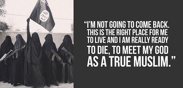 """Auch dieses martialische Propaganda-Bild führt in die Irre. Die Aufgaben einer Frau bei Daesh sind: Ehefrau und Mutter sein, den Männern """"Sesshaftigkeit, Ruhe und Stabilität"""" bieten. (Foto: via Twitter: @UmmAnwar/@yallahAlJannahh)"""