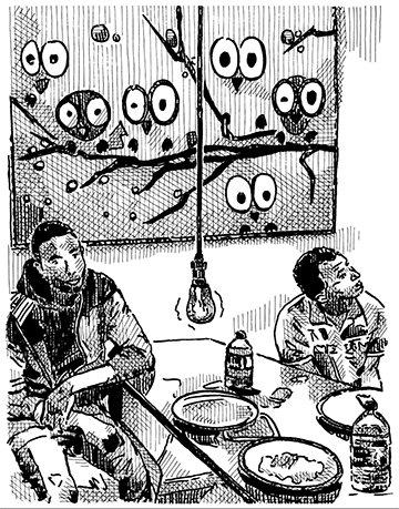 Die Wohnung, in der Amadou lebt, hat ihm ein anderer Afrikaner untervermietet. Mit seinen Freunden trinkt er hier Ingwerbier und schaut sich auf dem Handy Videos aus seiner Heimat Guinea an – z.B. welche, in denen man Soldaten sieht, die auf Demonstranten (Illustration: Oliver Grajewski)