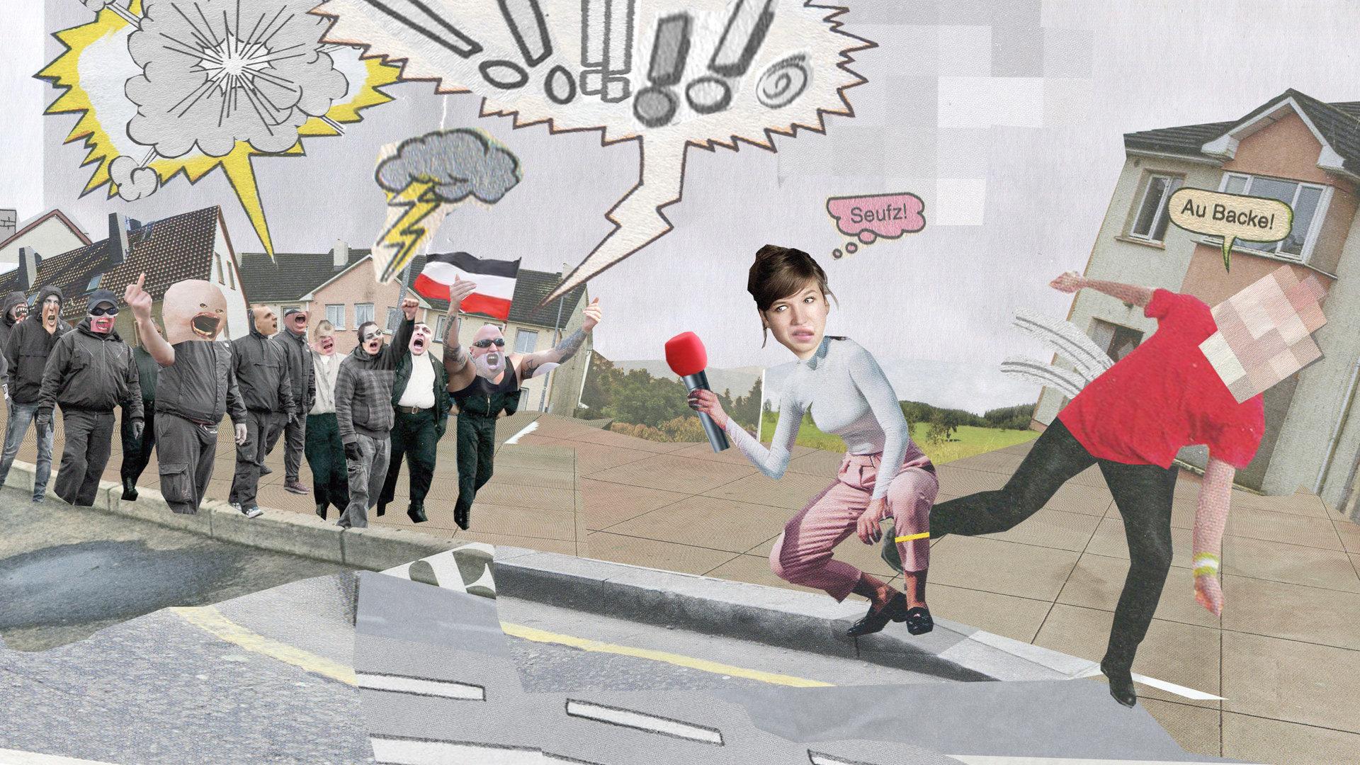 Rechtsextreme Demonstranten werden von einer Reporterin interviewt