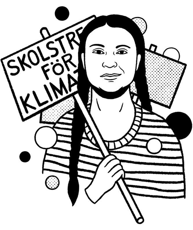Greta Thunberg (Illustration: Bene Rohlmann/SEPIA)