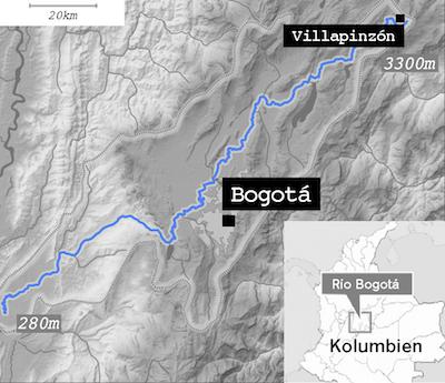 Karte Rio Bogota
