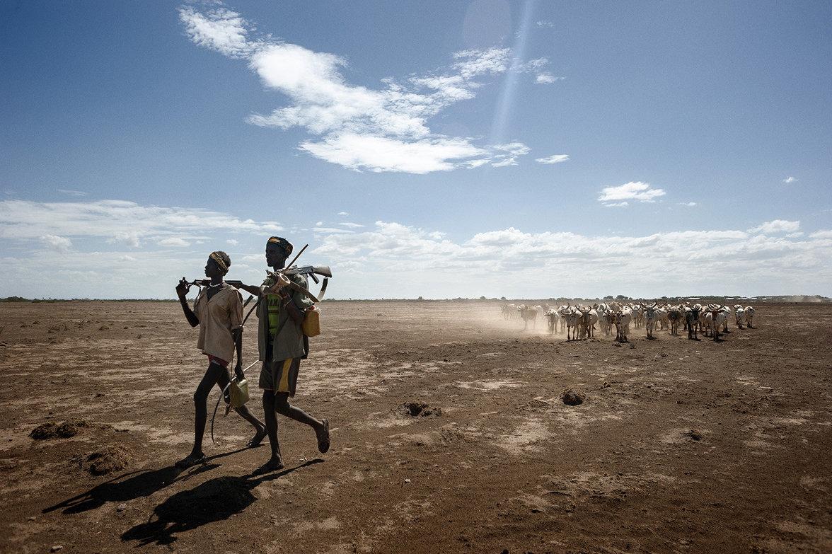 Hirten ziehen mit ihren Herden durch trockene Felder
