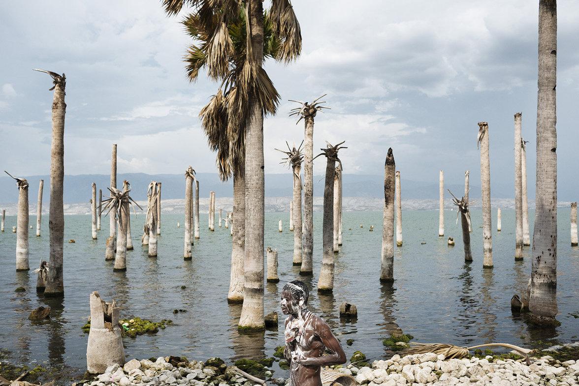 Der Azuéi-See hat vom Land noch Palmenstümpfe übrig gelassen die aus dem Wasser ragen