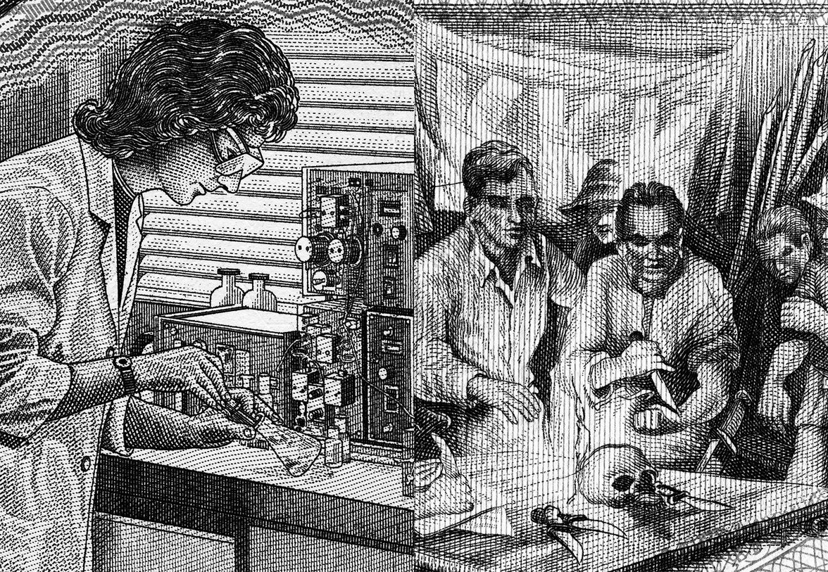 Linke Seite: eine Chemikerin, rechte Seite: Mitglieder eines Geheimbundes bei einem Ritual