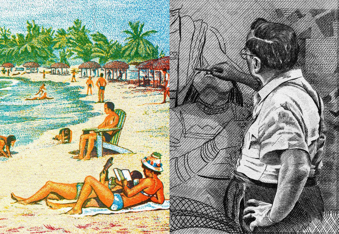 Linke Seite: Menschen am Strand, rechte Seite: ein Künstler