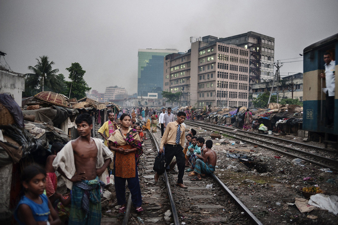 Kawran-Markt im Slum in Dhaka