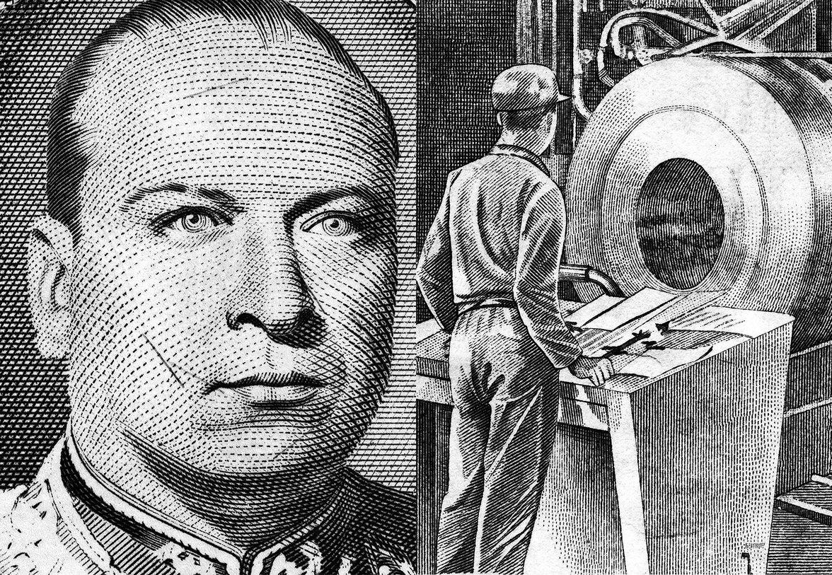 links: Portrait eines Mannes, rechts: Fabrikarbeiter