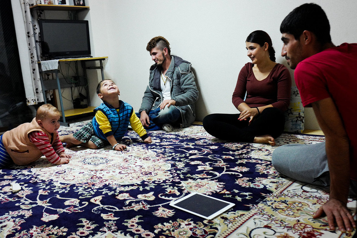 From the left: Ayas, 2, Huseyin, 3, Mazlum, 24, his sister Suzan, 19 and her husband. Mazlum lives with his family in Warabi. He moved here 10 years ago, and he works in a demolition company. He tried to apply for the refugee status nine times, but he was