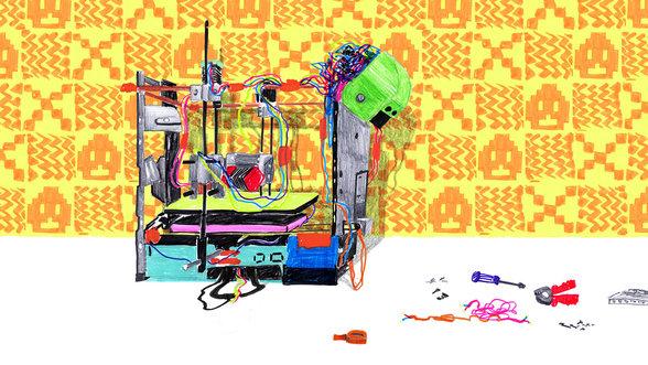 Hier illustriert: der fast vollständig aus Elektroschrott bestehende 3D-Drucker W.Afate