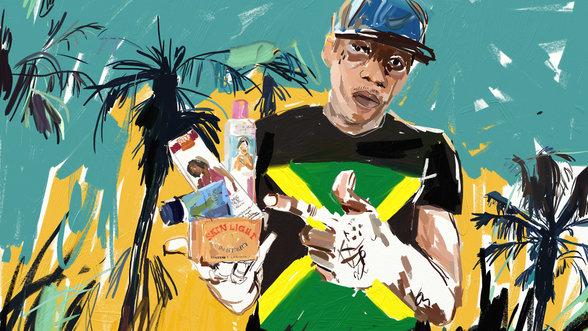 Vybz Kartel mit Skin Bleaching Produkten in der Hand
