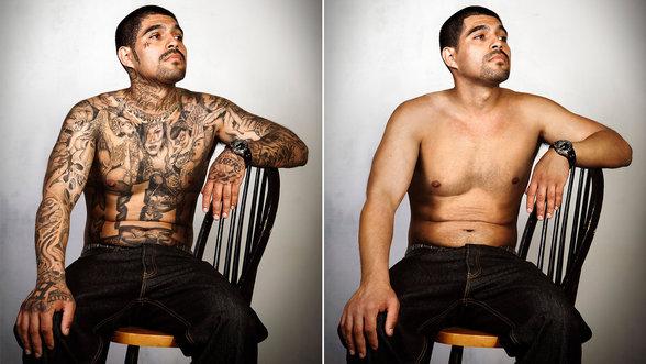 Links: ein stark tätowierter Mann, rechts: derselbe Mann ohne Tattoos