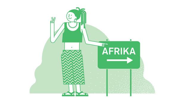 Mädchen steht neben Afrikaschild