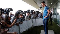 Der Fußballspieler Christiano Ronaldo bei einer Pressekonferenz
