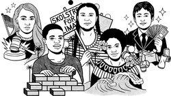 Junge KlimaaktivistInnen (Illustration: Bene Rohlmann/SEPIA)