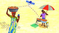 Illustration, die ein Kommunikationssystem für Landwirte in Afrika zeigt