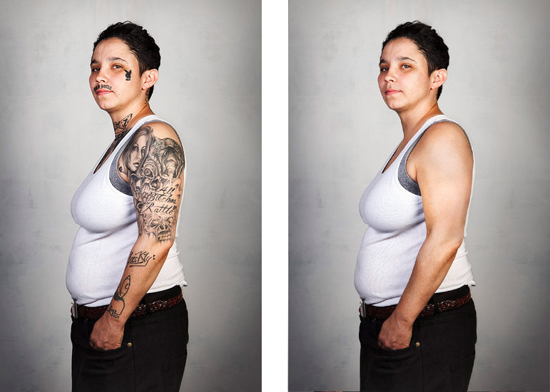 Links: eine stark tätowierte Frau, rechts: dieselbe Frau ohne Tattoos