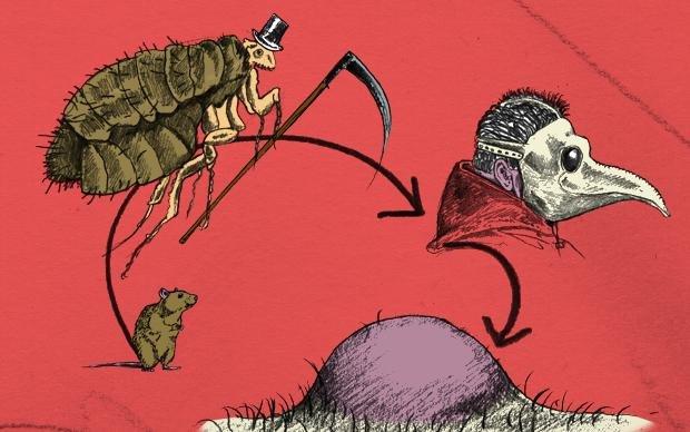 Die Jahre 1347 bis 1353 gelten als die tödlichsten in der Geschichte Europas: Ein Drittel aller Bewohner starb an der Pest, einer Infektionskrankheit, die die Lymphknoten, das Blut und die Lunge befällt. Ein Teil der Patienten zeigte Symptome einer Blutve (Illustration: Daniel le Bon)