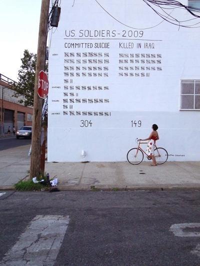 Bei den Bildern des Künstlers Sebastian ErraZuriz geht es nicht um zivile Opfer. Er will zeigen, dass doppelt so viele US-Soldaten durch Suizid nach dem Kampfeinsatz sterben als durch feindliches Feuer währenddessen (Foto: Sebastian ErraZuriz)
