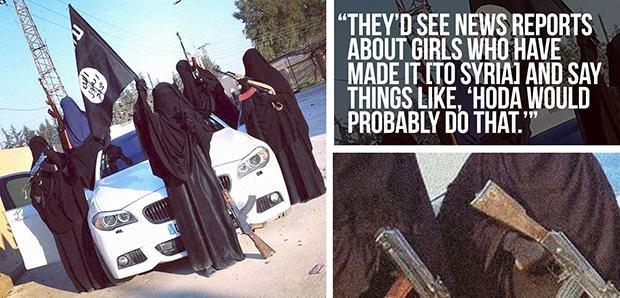 Verhüllte Kriegerinnen mit Knarre und Karre: Diese Collage, die eine Werberin von Daesh auf Twitter gepostet hat, zeichnet ein wenig realitätsgetreues Bild von der Situation der allermeisten Frauen. Mal abgesehen von der Vollverschleierung. (Foto: via Twitter: @UmmAnwar/@yallahAlJannahh)