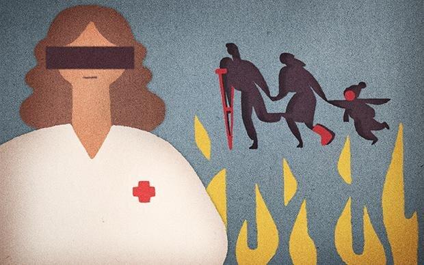 """In diesem Text wird die Ärztin, die in einer sächsischen Kleinstadt Flüchtlinge ehrenamtlich medizinisch versorgt, """"Anke Richter"""" genannt. Ihren echten Namen möchte sie nicht nennen. Aus Angst vor Angriffen von Rechtsextremen (Illustration: Daavid Mörtl)"""