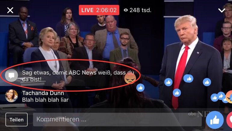 Screenshot des Facebook-Livestreams vom zweiten TV-Duell im US-amerikanischen Präsidentschaftswahlkampf