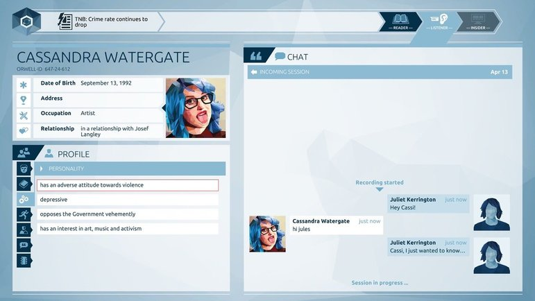 Screenshot des Computerspiels Orwell