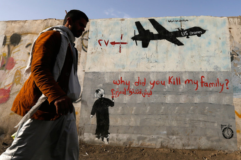 Drohengraffiti im Jemen  (Foto: Khaled Abdullah/REUTERS)