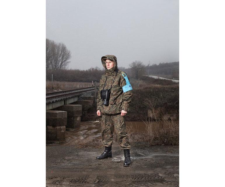 Frontex-Patrouille- polnischer Grenzschutzbeamter mit ICS30-Wärmebild-Aufklärungskameras an der europäischen Außengrenze Griechenlands zur Türkei in der Evros-Region, Januar 2012