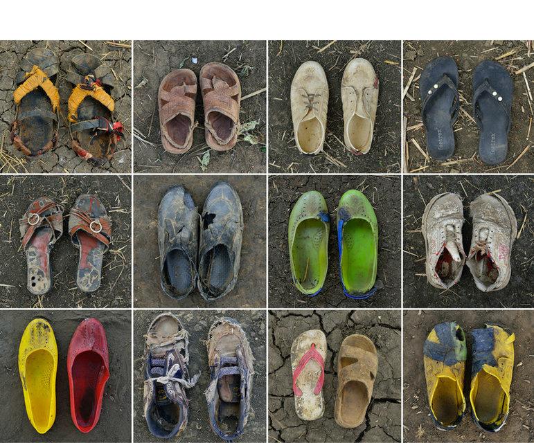 Abgelaufen, zerrissen, notdürftig repariert- Die Schuhe zeugen von den Härten der Flucht und vom Überlebenswillen der Vertriebenen