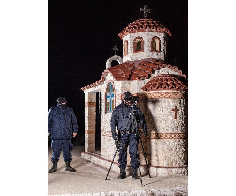 Frontex-Patrouille, Grenzschutzpolizei beim Überwachen der europäischen Außengrenze Griechenland/Türkei, Evros-Region, Januar 2012