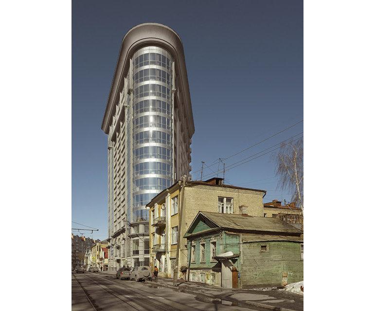 Adaption des New Yorker Flatiron-Gebäudes in Samara, einer Industriestadt an der Wolga