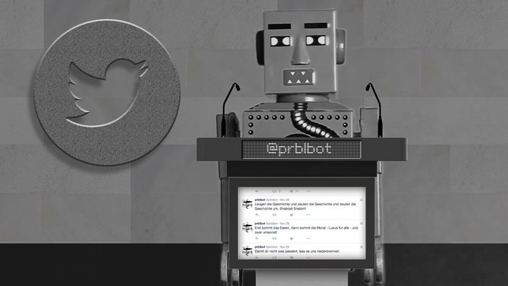 Bot hinter Rednerpult twittert