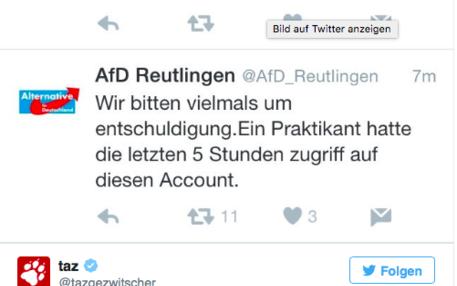 Gefaketer Twitter-Post der AfD Reutlingen