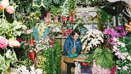 Vietnamesische Blumenhändlerin in Berlin
