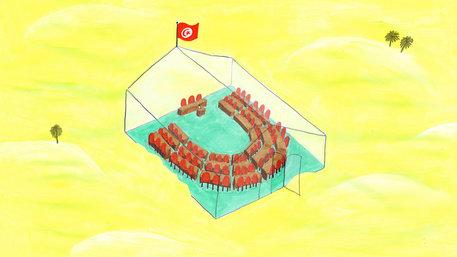 Transparentes Parlament: Plenarsaal in einem gläsernen Gebäude mitten in der Wüste, auf dem Dach weht die tunesische Flagge