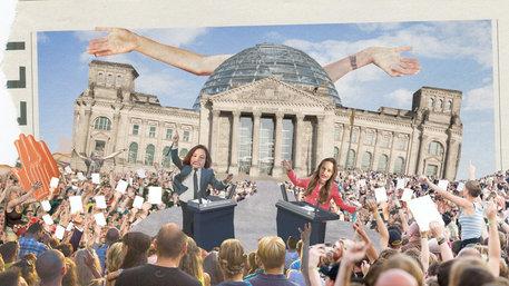 Kollage mit dem Berliner Reichstag zum Streit über Volksabstimmungen