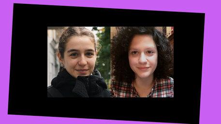 Zwei junge Frauen schauen in die Kamera